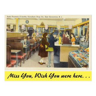Rhode Island, Soda Fountain, E. Greenwich Postcard
