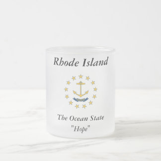 Rhode Island State Flag Frosted Glass Coffee Mug