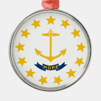 Rhode Island State Flag Silver-Colored Round Decoration