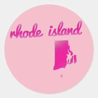 Rhode Island state in pink Classic Round Sticker