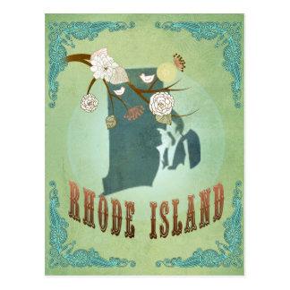 Rhode Island State Map – Green Postcard