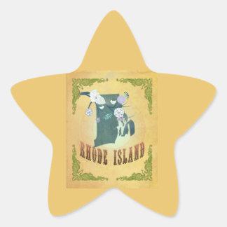 Rhode Island State Map- Passion Fruit Yellow Sticker