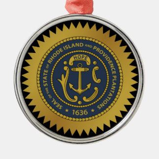 Rhode Island state seal america republic symbol fl Silver-Colored Round Decoration