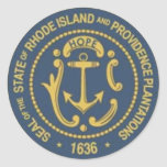 Rhode Island State Seal Round Stickers
