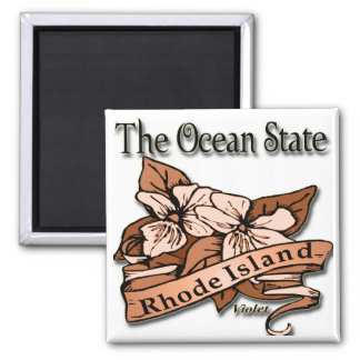 Rhode Island The Ocean State Violet Square Magnet