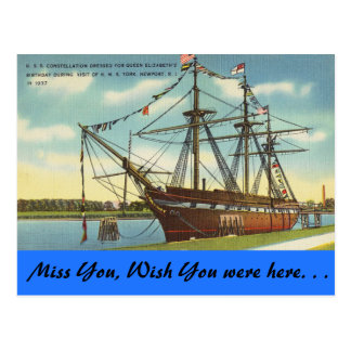 Rhode Island, U.S.S. Constellation, Newport Postcard