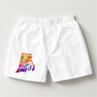 Rhode Island U.S. State in watercolor text cut Boxers