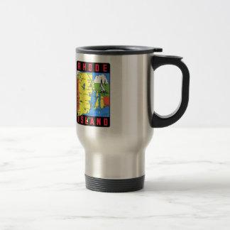 Rhode Island Vintage Retro Kitsch Decal Art 15 Oz Stainless Steel Travel Mug