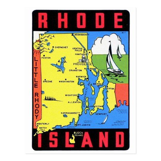 Rhode Island Vintage Retro Kitsch Decal Art Postcard