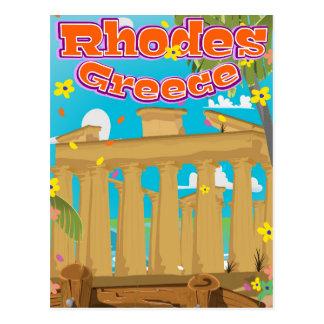 Rhodes Greece Travel poster. Postcard