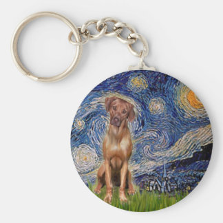 Rhodesian Ridgeback 1 - Starry Night Basic Round Button Key Ring