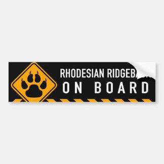Rhodesian Ridgeback On Board Bumper Sticker