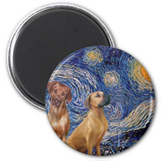Rhodesian Ridgeback Pair - Starry Night 6 Cm Round Magnet