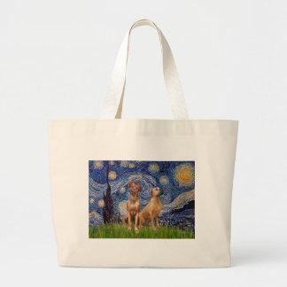Rhodesian Ridgeback Pair - Starry Night Canvas Bag