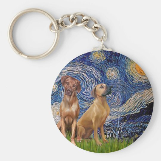 Rhodesian Ridgeback Pair - Starry Night Basic Round Button Key Ring