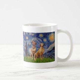 Rhodesian Ridgeback Pair - Starry Night Basic White Mug