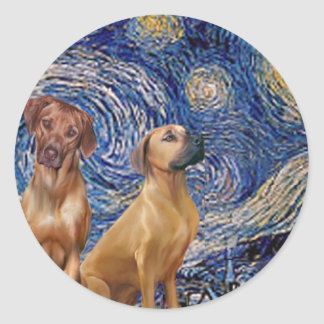 Rhodesian Ridgeback Pair - Starry Night Round Sticker