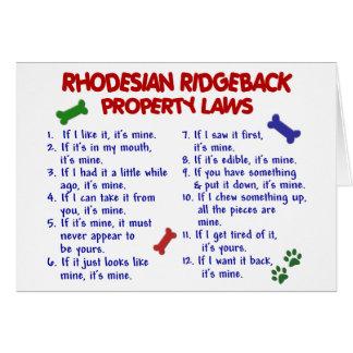 RHODESIAN RIDGEBACK Property Laws 2 Card
