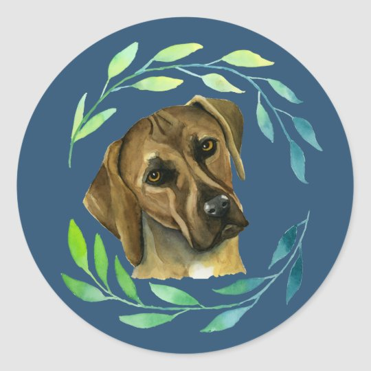 Rhodesian Ridgeback with a Wreath Watercolor Classic Round