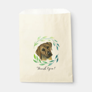 Rhodesian Ridgeback with a Wreath Watercolor Favour Bags