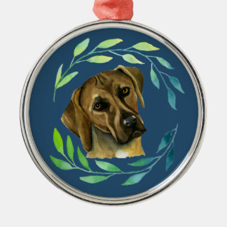 Rhodesian Ridgeback with a Wreath Watercolor Silver-Colored Round Decoration