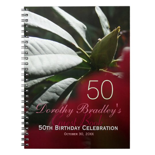 Rhododendron 50th Birthday Party Custom Guest Book Notebook