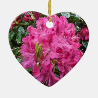 Rhododendron flower bloom with texture. ceramic heart decoration