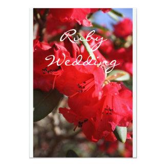 Rhododendron Red Flowers Ruby Wedding Card 13 Cm X 18 Cm Invitation Card
