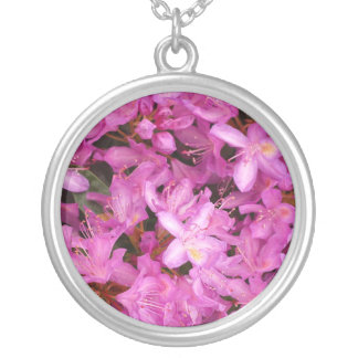 rhododendron silver plated necklace