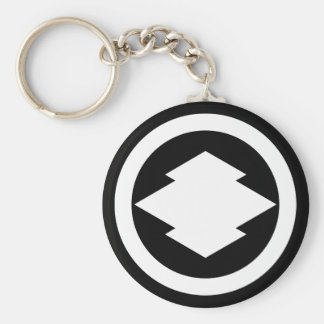 Rhombic pine bark in circle basic round button key ring