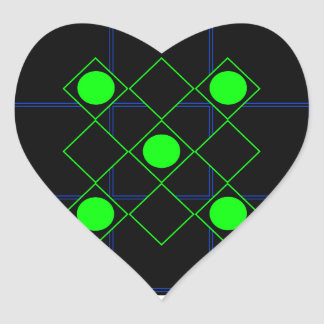 Rhombus green lines with green circles heart sticker