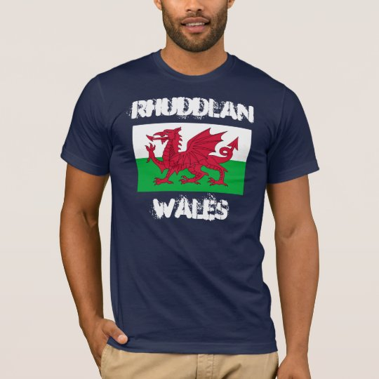Rhuddlan, Wales with Welsh flag T-Shirt