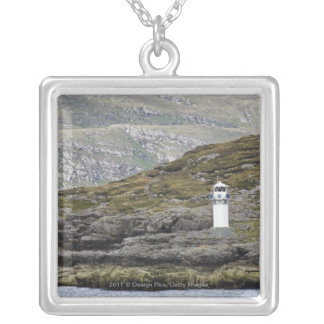Rhue Lighthouse Along The Coast Silver Plated Necklace