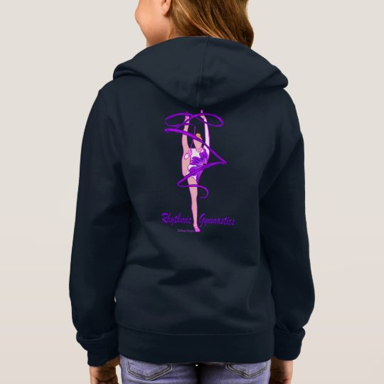 Rhythmic Gymnastics Flower Ribbon Front Zip Hoodie