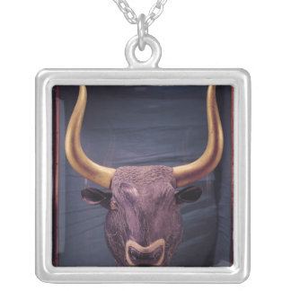 Rhyton in the shape of a bull's head, silver plated necklace