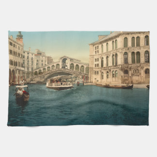 Rialto Bridge and Grand Canal, Venice, Italy Tea Towel