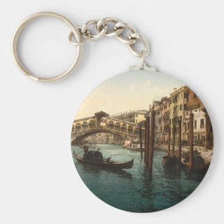 Rialto Bridge I, Venice, Italy Basic Round Button Key Ring