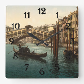 Rialto Bridge I, Venice, Italy Square Wall Clock
