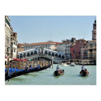 Rialto Bridge on Grand Canal, Venice Italy Postcard