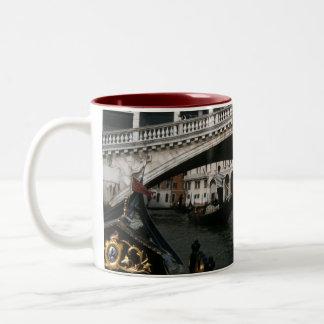Rialto Bridge Venice Gondolas Lagoon Two-Tone Mug