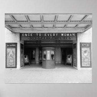Rialto Movie Theater, 1920. Vintage Photo Poster