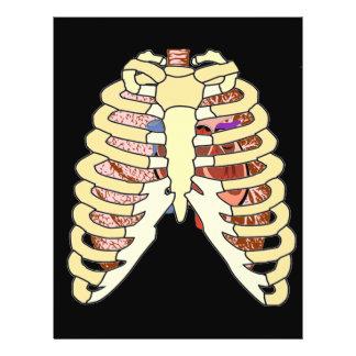 Rib Cage Lungs & Heart on Black 21.5 Cm X 28 Cm Flyer