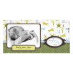 Ribbit Frog and Dragonfly Birth Announcement Personalized Photo Card