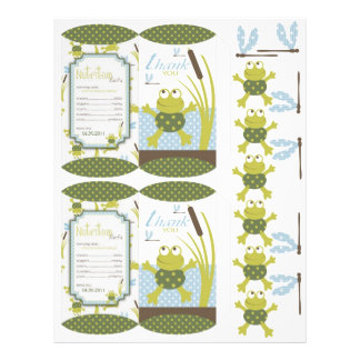 Ribbit Frog and Dragonfly Box Template 21.5 Cm X 28 Cm Flyer