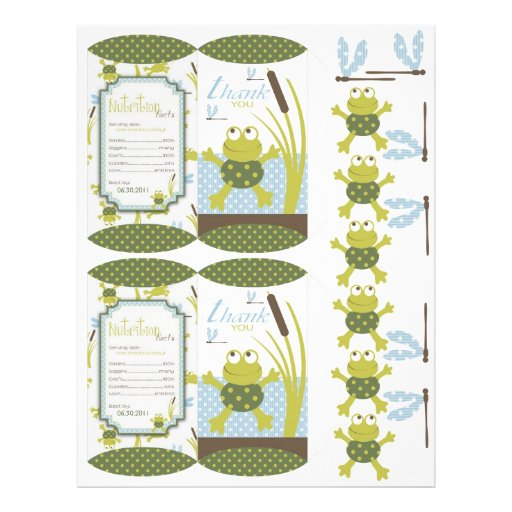 Ribbit Frog and Dragonfly Box Template Custom Flyer
