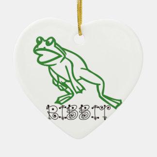 Ribbit Frog Ceramic Heart Decoration