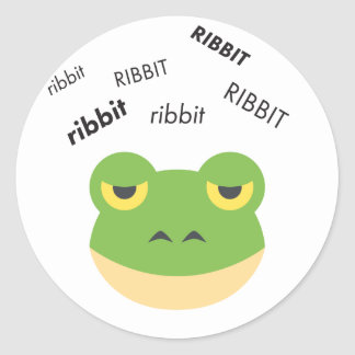 Ribbit Frog Cute Emoji Round Sticker