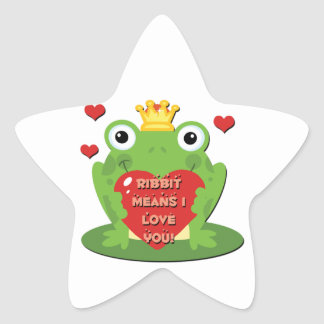 Ribbit Means I Love You Star Sticker