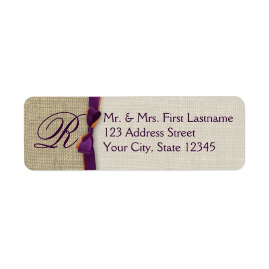 Ribbon and Burlap Purple and Orange Monogram Return Address Label