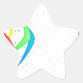 Ribbon and Confetti Party Star Sticker